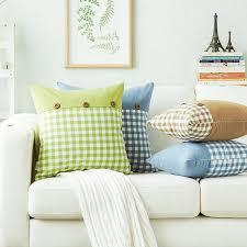 coussin pour canape bleu café plaid polyester de noix de coco bouton coussins pour