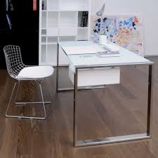 Cute Office Decorating Ideas by Modern Stainless Chair And Table Frame Design With Glass On Top