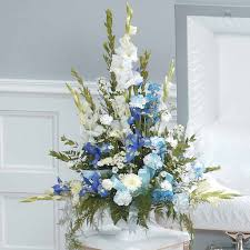 funeral arrangement blue white funeral arrangement
