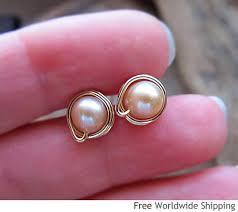 modern gold stud earrings freshwater pearl stud earrings gold filled wrapped pearl