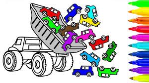 learn colors for kids with car and dump truck coloring book pages
