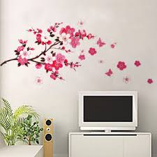 cherry blossom wall art chinese goods catalog chinaprices net buy pink cherry peach blossom plum flowers butterfly wall stickers