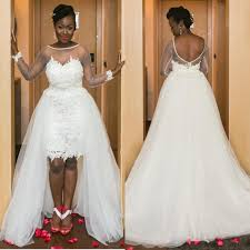cheap high low plus size african wedding dress with appliques