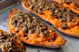 Thanksgiving Yam Recipes Twice Baked Sweet Potato Yam Recipe With Chipotle Pecan Streusel