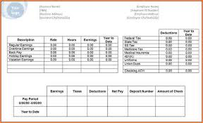 Payroll Statement Template by Pay Statement Template Sles Csat Co