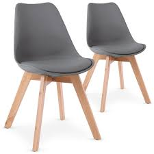 chaises grise menzzo lot de 2 chaises style scandinave bovary gris amazon fr