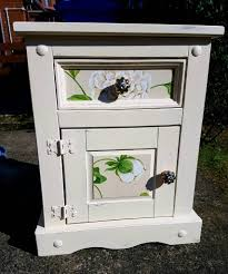 upcycled shabby chic storage unit cream and green bedside table