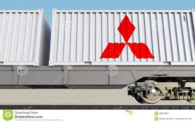 railway transportation of containers with mitsubishi logo