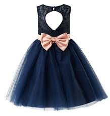 thstylee grey navy lace tulle bow flower dresses juniors