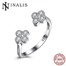 sted rings inalis minimalist flower adjustable engagement cz ring