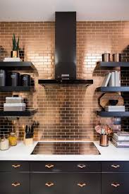 copper kitchen backsplash ideas black floating shelves and cabinets electric cooctop with vent