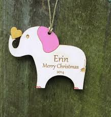 personalized elephant ornament engraved christmas