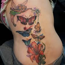color butterflies with and flower on back
