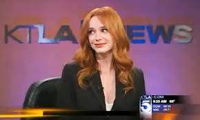 news anchor in la hair news anchor rendered speechless by christina hendricks hotness