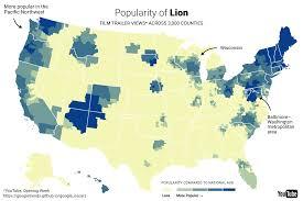 Google Maps Wisconsin by Mapping America U0027s Taste In Oscar Films