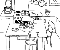 dessins de cuisine coloriage cuisine en ligne gatuit dessins cuisine à colorier ou à