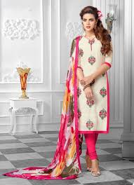 gk dmw printed dupatta and cream colorfull cotton semi stiched