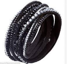 leather bracelet swarovski images Crystal cuff leather bracelet rhinestone slake deluxe black jpg