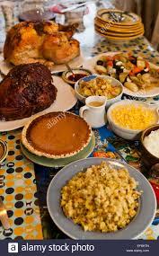 thanksgiving turkey dinner on table usa stock photo 78250949 alamy