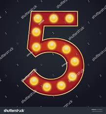 marquee numbers with lights letter number five alphabet sign marquee stock vector 671498293