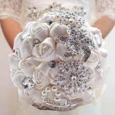 bridesmaid bouquet beige pearl brooch bridesmaid bouquet