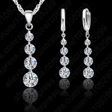 sterling silver wedding necklace images Jemmin romantic 925 sterling silver link chain crystal pendant jpg