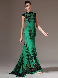 green high neck mermaid cap sleeve prom dress with black lace
