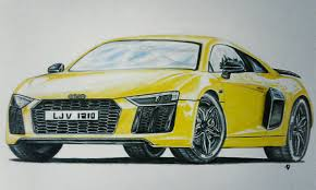Audi R8 Yellow 2016 - my audi r8 v10 plus drawing took about 9 hours on this one