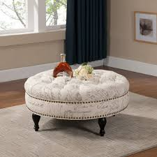 round leather tufted ottoman round tufted ottoman coffee table cocktail with tray trendy image of