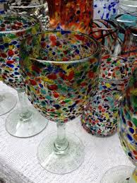 la galeria hand blown multi colour glassware design colourful wine
