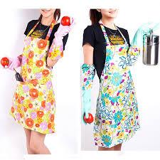 tablier de cuisine pas cher fleur impression de mode femmes en plastique cuisine tabliers de