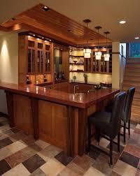 Basement Wet Bar by Interior Wooden Basement Wet Bar Design Plus Unique Pendant Lamp
