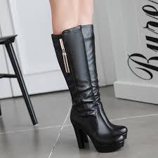 womens boots knee high black enmayla knee high boots black platform shoes boots