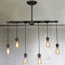 6 lights iron 35 wide hanging pipe multi light pendant