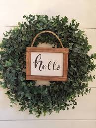 hello wood sign wreath signs entryway sign farmhouse style