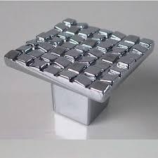 poignee et bouton de cuisine carré mosaïque meubles boutons brillant argent tiroir armoires de