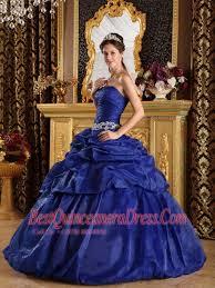 blue ball gown strapless floor length pick ups taffeta quinceanera