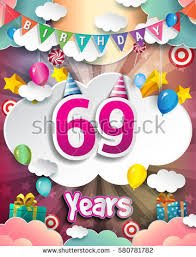 69th birthday card 69th birthday celebration greeting card design with clouds and