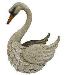 swan metal ornament large by arts resin animals gift