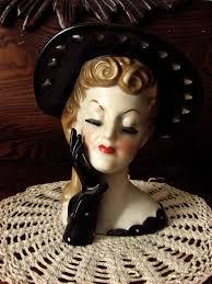 vintage 50s lady head vase napco ceramic japan so pretty