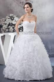 floor length ball gown strapless sweetheart ruffles beaded wedding