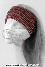 hippie hair bands purple and black handmade stretchy knitted cotton hippy hairbands