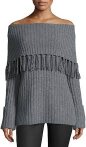 Marled By Reunited Wool Cashmere Blend Off The Shoulder Tunic