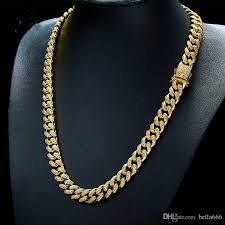cuban chain necklace gold images 2018 men copper miami cuban chain necklace bracelet set 18k gold jpg