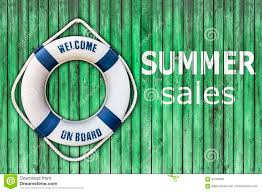 lifebuoy on wooden floor and summer sales stock photo image