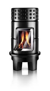 wood heating stove contemporary ceramic round stack rim