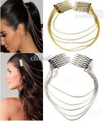 hair cuff 2018 hair comb chain jewelry hair cuff pin band chains