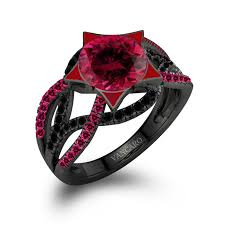 Vancaro Wedding Rings by Twist Infinity Women U0027s Black Ring With Lab Created Ruby And Black