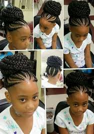 images of black braided bunstyle with bangs in back hairstyle 40 braids for kids 40 braid styles for girls