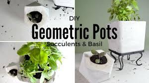 diy geometric plaster pots spring home decor plant basil
